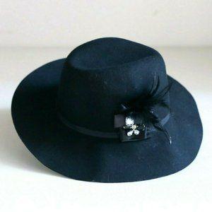 August Hat Company Black Wool Hat w Rhinestones
